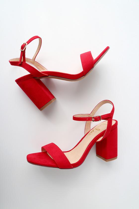 12bb3847a05a Cute Block Heel Sandals - Red Suede High Heel Sandals