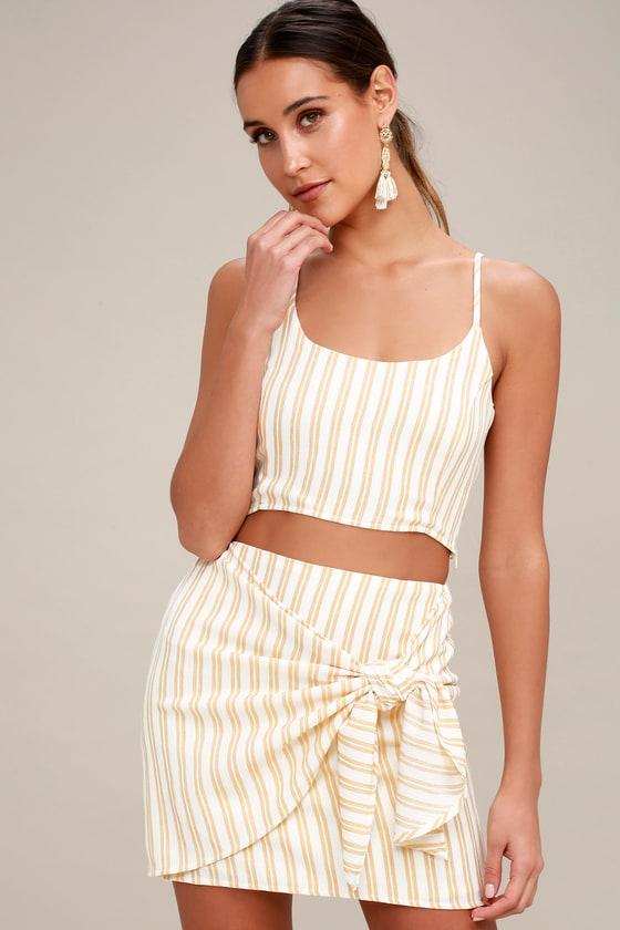 9a2119f2b354 Cute Wrap Skirt - Tan Striped Mini Skirt - Resort Skirt