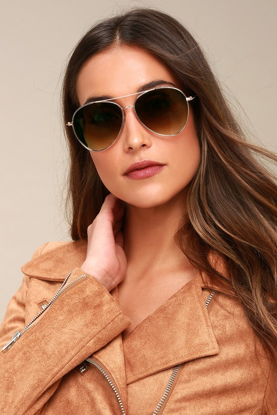 Santa Maria Gold Aviator Sunglasses - Lulus
