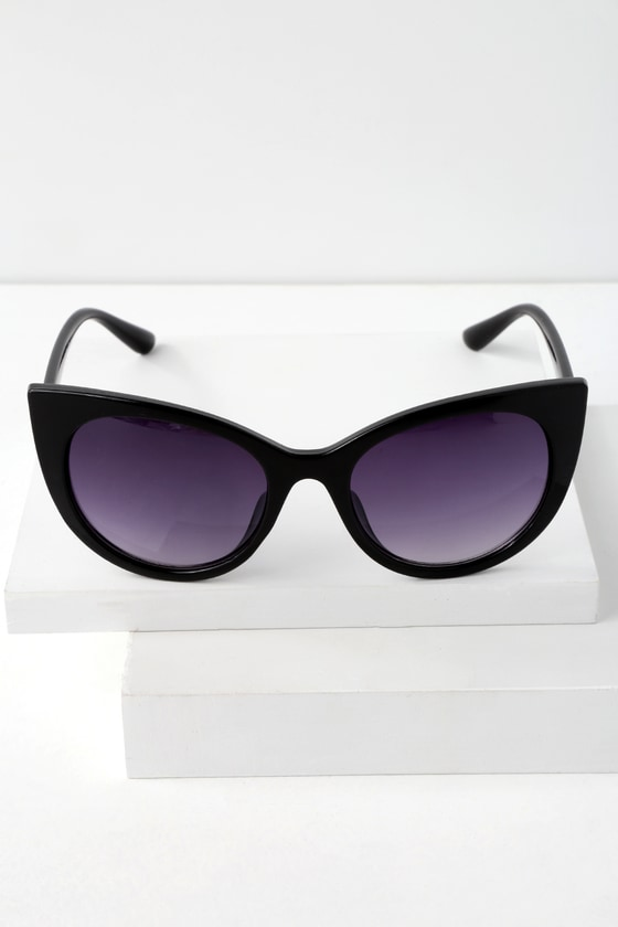 Buttercup Black Cat Eye Sunglasses by Lulus