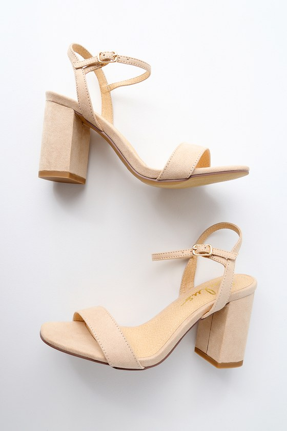 Cute Chunky Heel Sandals - Nude Suede High Heel Sandals