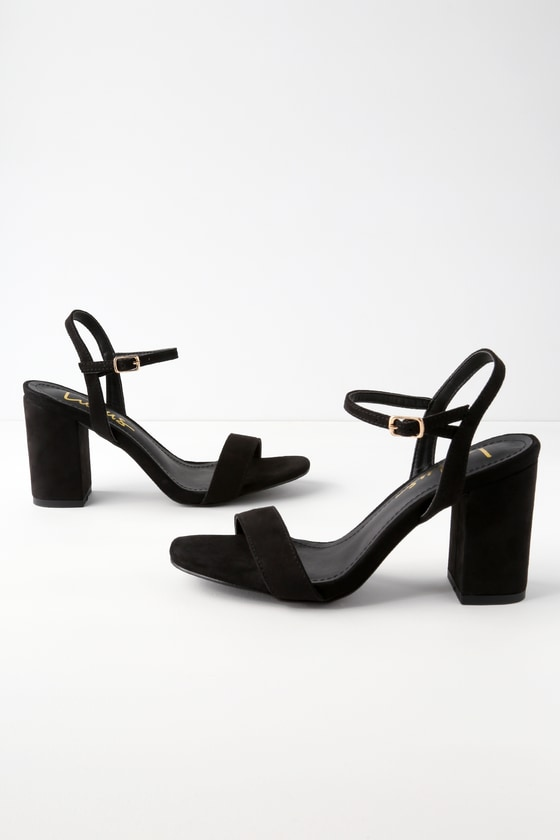 45e1f8807 Cute Chunky Heel Sandals - Black Suede High Heel Sandals
