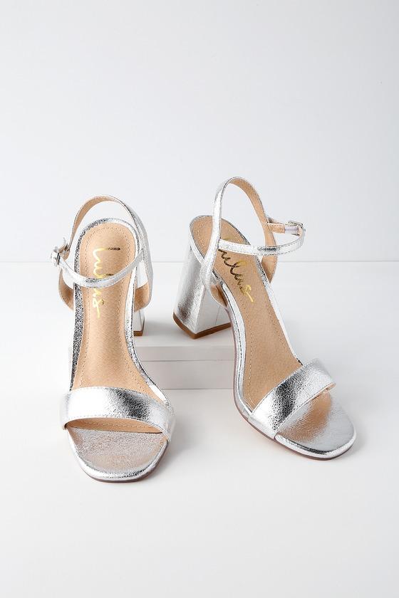 510ed9969e Cute Chunky Heel Sandals - Silver High Heel Sandals