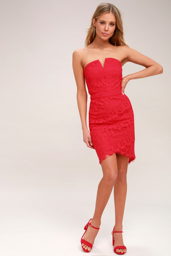 Sexy Red Lace Dress - Strapless Lace Dress