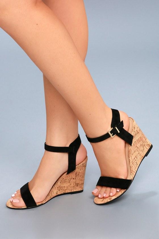 Black Suede Cute Vegan Cork Sandals Wedge Wedges Lvzmqsupg L4R35jAqSc