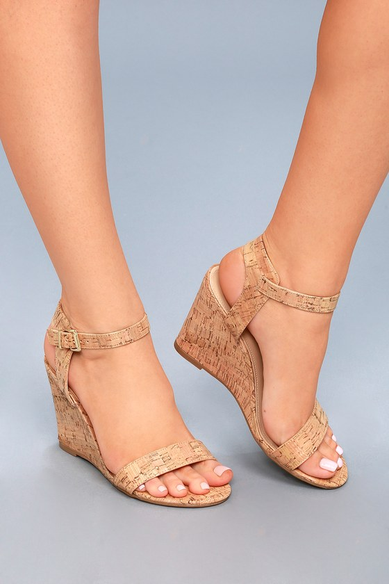 17a101351d7 Cute Cork Wedge Sandals - Beige Wedges