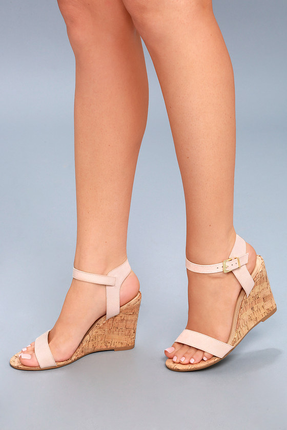 267b5efa1bb Cute Blush Wedge Sandals - Vegan Suede Wedges - Cork Wedges