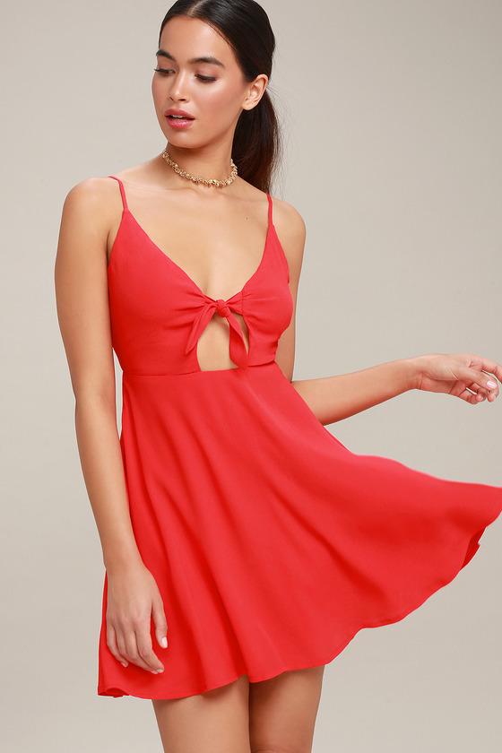 e57c2a1319db Cute Tie-Front Skater Dress - Red Skater Dress