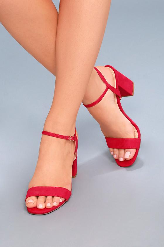 Arya Red High Sandals Heel Suede CotQBsrdhx