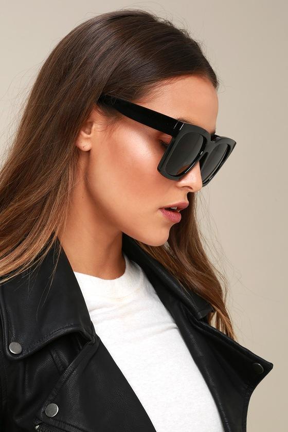 5e172c0ca84 Chic Black Sunglasses - Black Oversized Sunglasses
