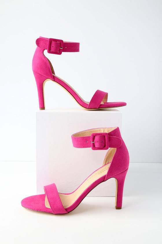 c0d27cdb70 Cute Fuchsia Heels - Ankles Strap Heels - Vegan Suede Heels