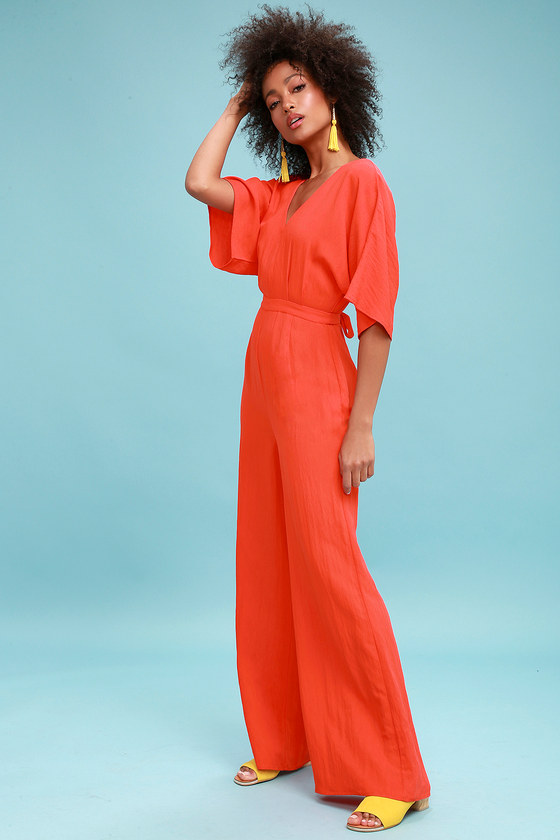 2e61831c27 Cute Jumpsuit - Wide-Leg Jumpsuit - Coral Red Jumpsuit