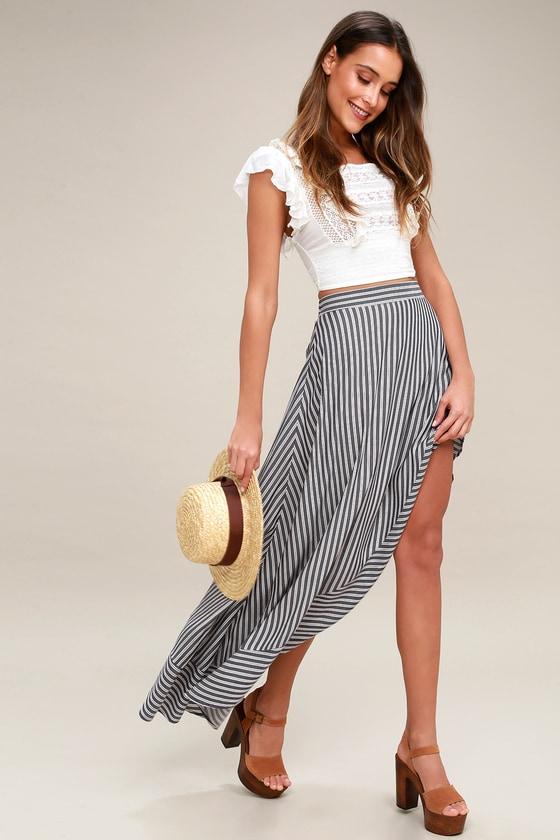 c5dff74db Cute Burgundy and Navy Blue Skirt - Striped Maxi Skirt