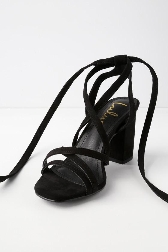 1ddadc4d5ab Cute Lace-Up Heels - Black Heels - Vegan Suede Heels
