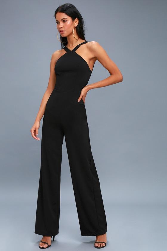 9471e7630143 Chic Black Jumpsuit - Wide-Leg Jumpsuit - Halter Jumpsuit