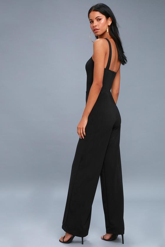 ab413d368908 Chic Black Jumpsuit - Wide-Leg Jumpsuit - Halter Jumpsuit