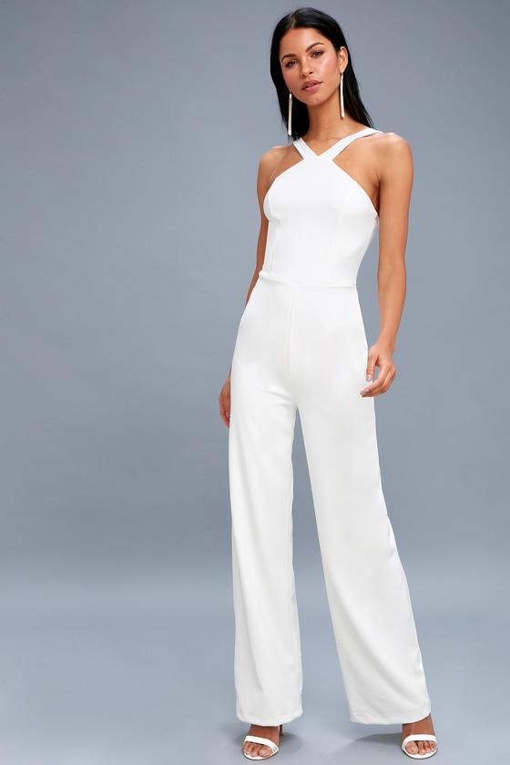 chic white jumpsuit  wideleg jumpsuit  halter jumpsuit