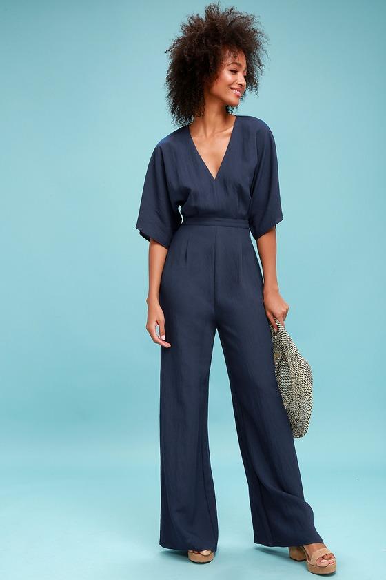 70s Jumpsuit   Disco Jumpsuits – Sequin, Striped, Gold, White, Black Chic La Vie Navy Blue Wide-Leg Jumpsuit - Lulus $34.00 AT vintagedancer.com
