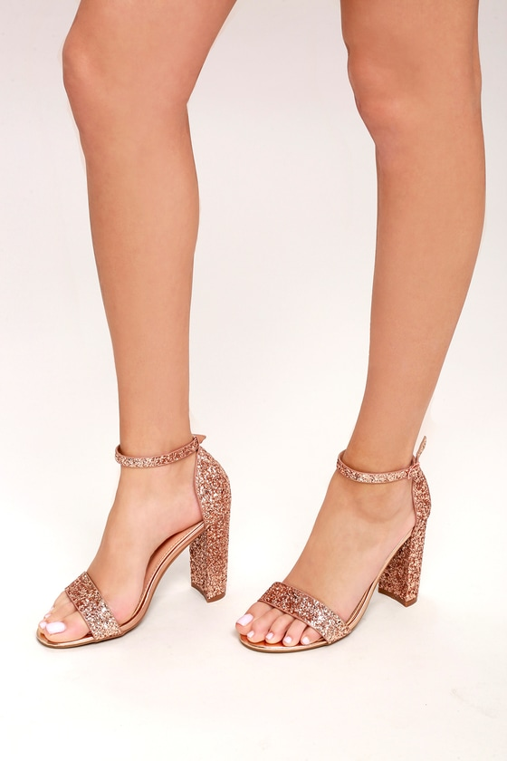 91b0f739d Shiny Glitter Heels - Rose Gold Heels - Party Shoes