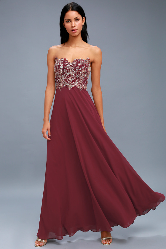 Royal Romance Burgundy Strapless Rhinestone Maxi Dress