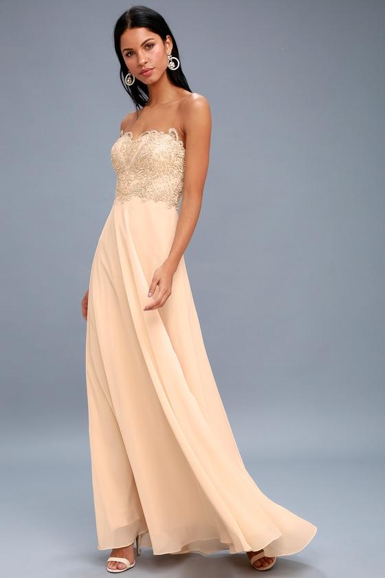 73f8ae33008 Elegant Champagne Dress - Strapless Rhinestone Maxi Dress