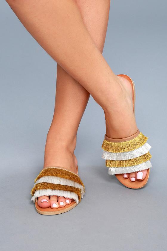 02ac40d1558 Dolce Vita Celaya - Yellow Fringe Slide Sandals