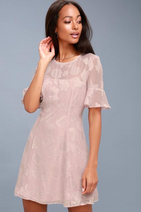 1e0e9dbd31e Stunning Mauve Dress - Seashell Print Dress - Flounce Dress