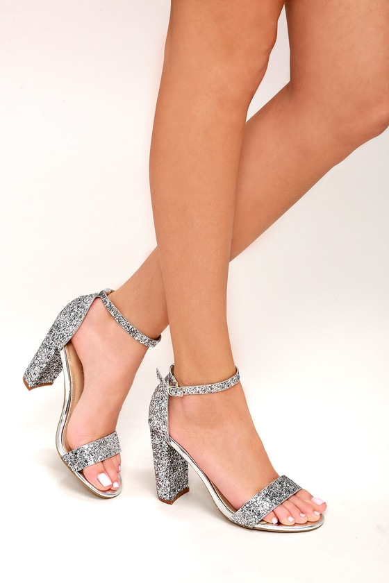 21d7c2ac0ae Shiny Glitter Heels - Silver Heels - Party Shoes