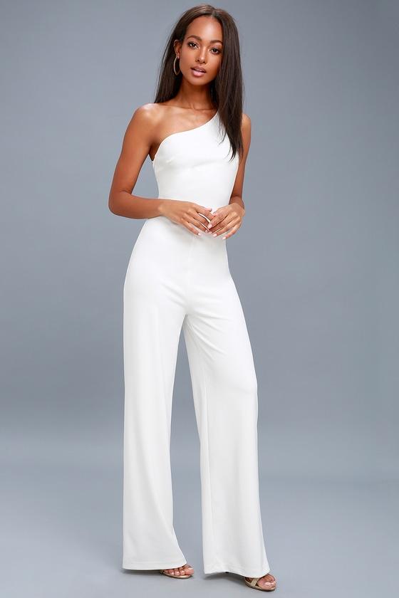 8405c9e6b50 White Backless Jumpsuit - One Shoulder Jumpsuit