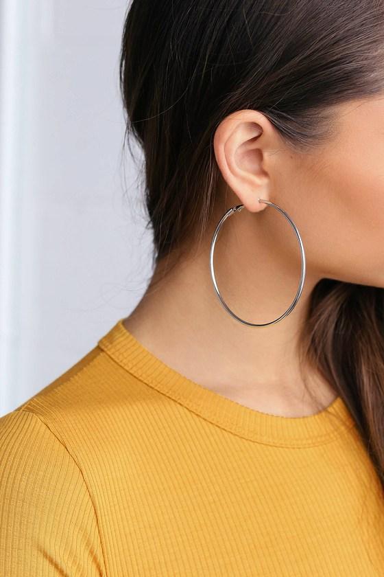 Miley Silver Hoop Earrings by Lulus