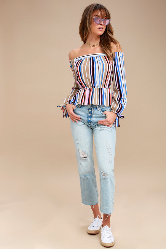 3644b4ab5773e Cool Pink Top - Striped Top - Off-The-Shoulder Top - Long Sleeve Top ...