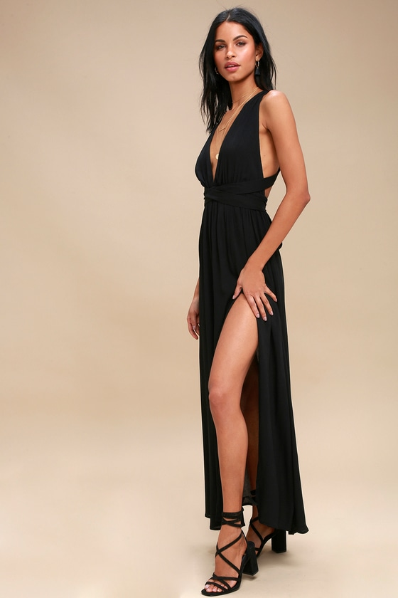 4fc34b0fbdb7 Lovely Black Dress - Halter Dress - Maxi Dress - Halter Maxi