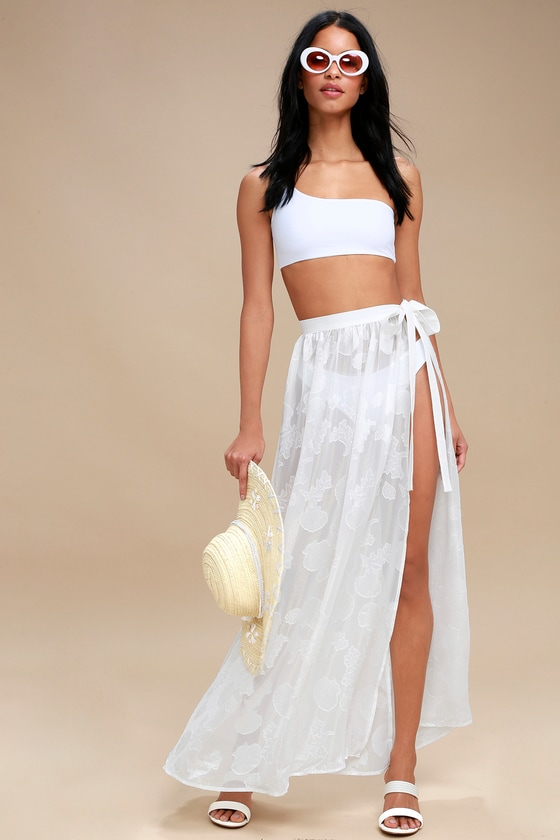 Take the Caicos White Shell Print Cover-Up Maxi Skirt - Lulus