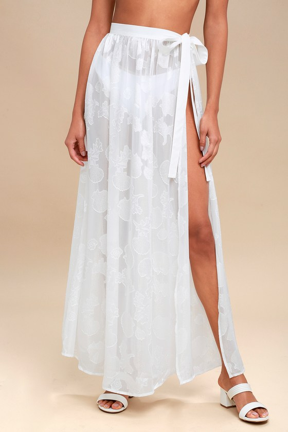 52128d2514601 Cute White Cover-Up Skirt- Seashell Cover-Up - Wrap Skirt