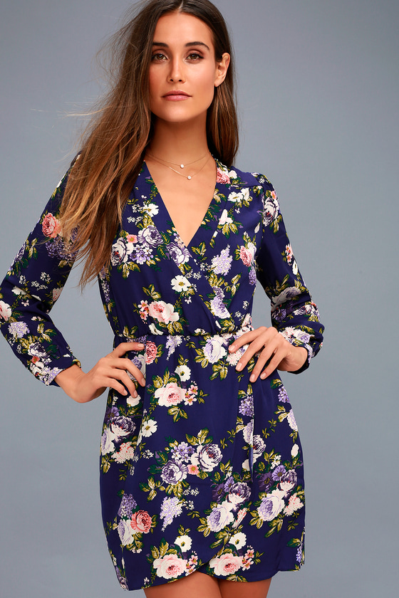 Pretty Navy Blue Dress - Floral Print Dress f5d67870f
