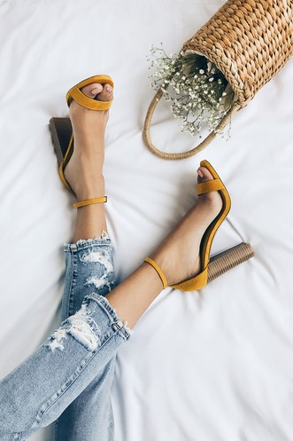 4f079972d7 Taylor Mustard Yellow Suede Stacked Ankle Strap Heels