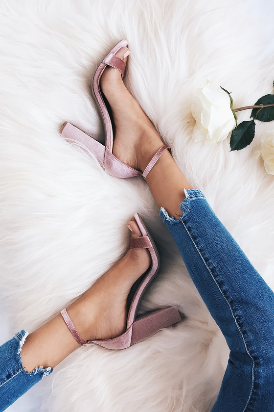 2384be082c5 Sexy Mauve Heels - Velvet Heels - Ankle Strap Heels