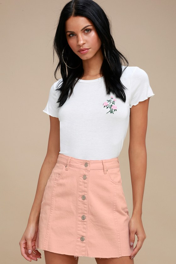 ad715e15e5 Cute Blush Pink Mini Skirt - Denim Mini Skirt - Pink Skirt