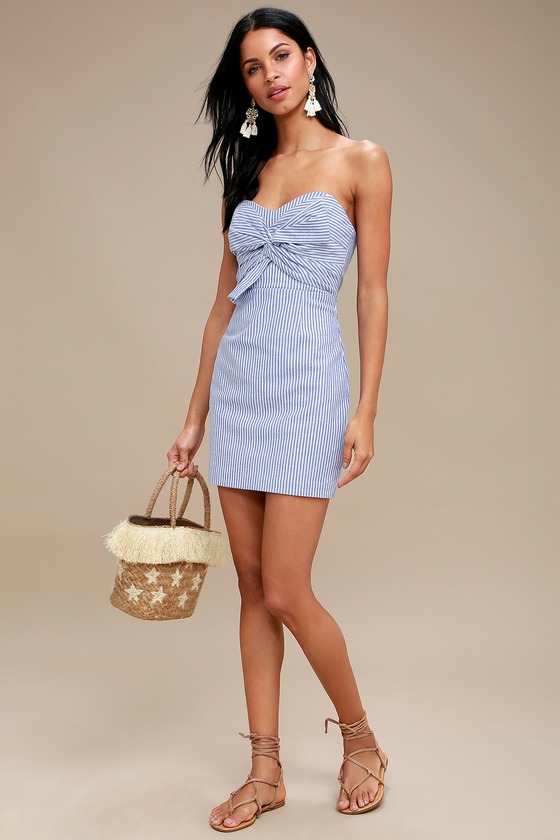 a1dd57ba7 Cute Blue Striped Dress - Strapless Dress - Knotted Dress