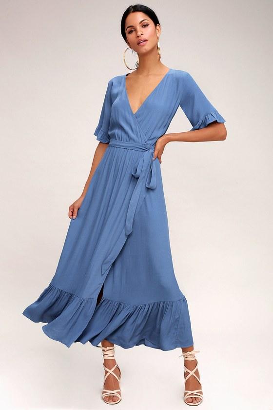 Sale alerts for  Enchanted Slate Blue Midi Dress - Covvet