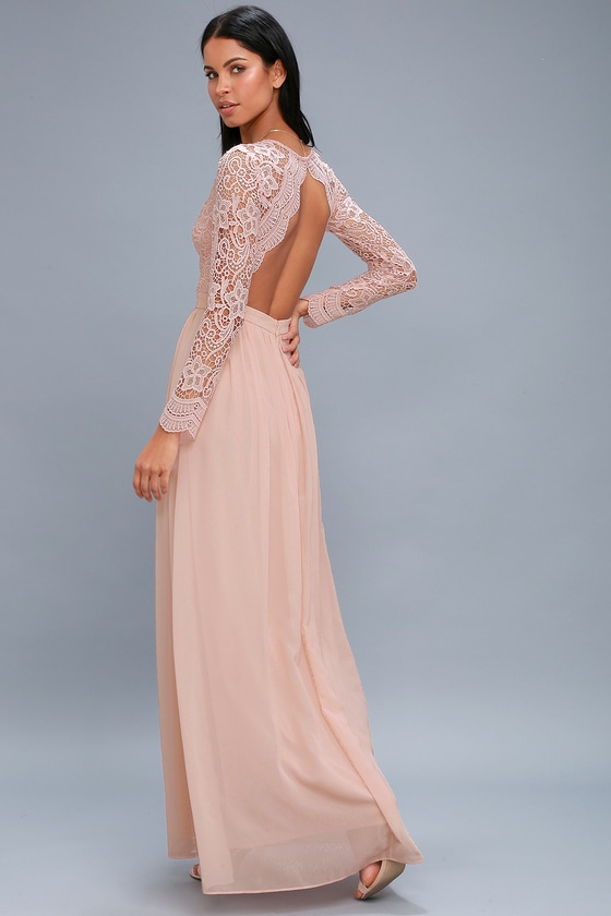 Lovely blush pink dress lace long sleeve maxi dress for Long sleeve blush wedding dress