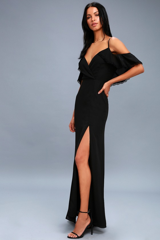 7adcde794f Lovely Black Maxi Dress - Lace Off-the-Shoulder Maxi Dress