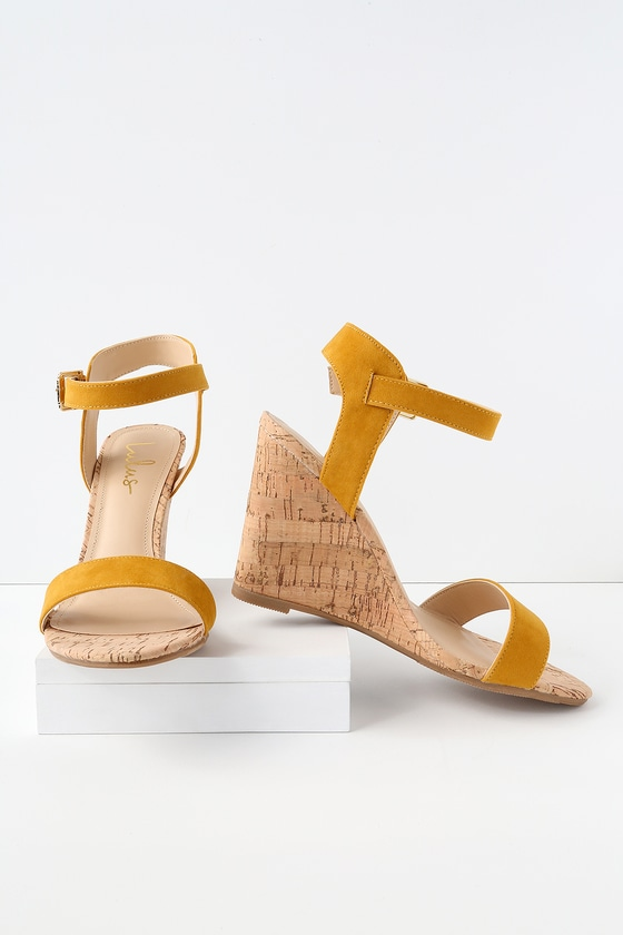 4dc9afbbb Cute Mustard Wedges - Vegan Suede Wedges - Cork Wedges