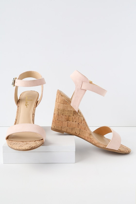 9b27eab5b Cute Blush Wedge Sandals - Vegan Suede Wedges - Cork Wedges