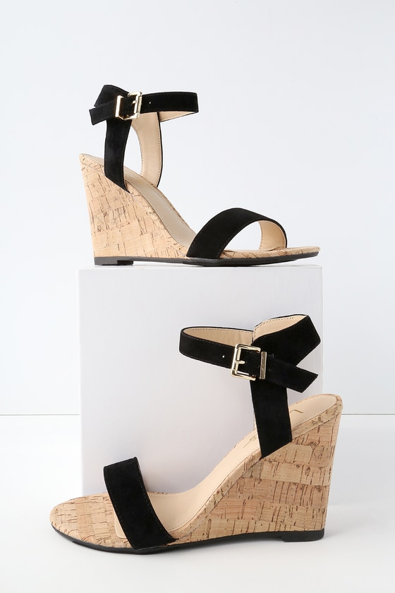 bf053bf7c Cute Black Wedge Sandals - Vegan Suede Wedges - Cork Wedges