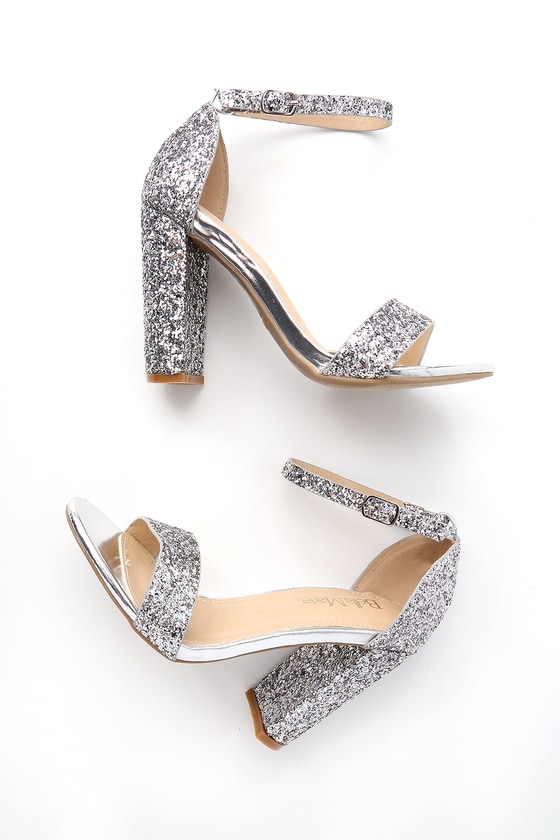 eb143aae3d35 Shiny Glitter Heels - Silver Heels - Party Shoes
