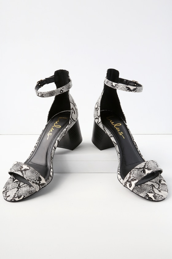 2590e5ac303 Chic Snake Sandals - Single Sole Heels - Block Heel Sandals