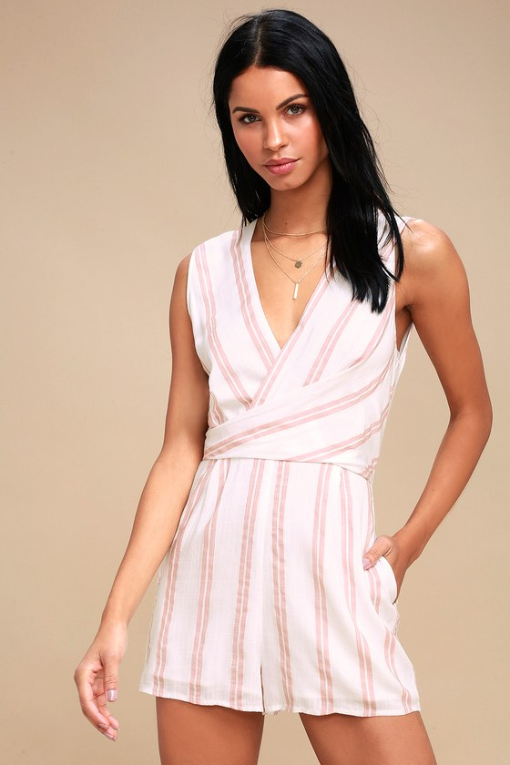 CAROUSEL RIDE WHITE AND PINK STRIPED ROMPER