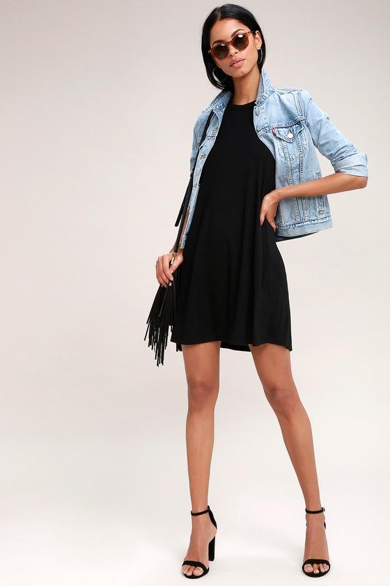 aedb6cddcb0c Z Supply Mei - Black Swing Dress - Jersey Swing Dress