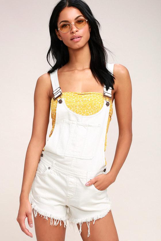 0a7ea176aca2 Free People Summer Babe - White Short Overalls - Shortalls